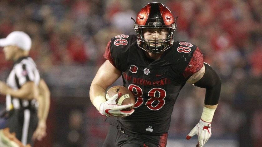 San Diego State tight end David Wells was a go-to player in SDSU's passing game as well as a reliable blocker in the Aztecs' run-dominated offense.