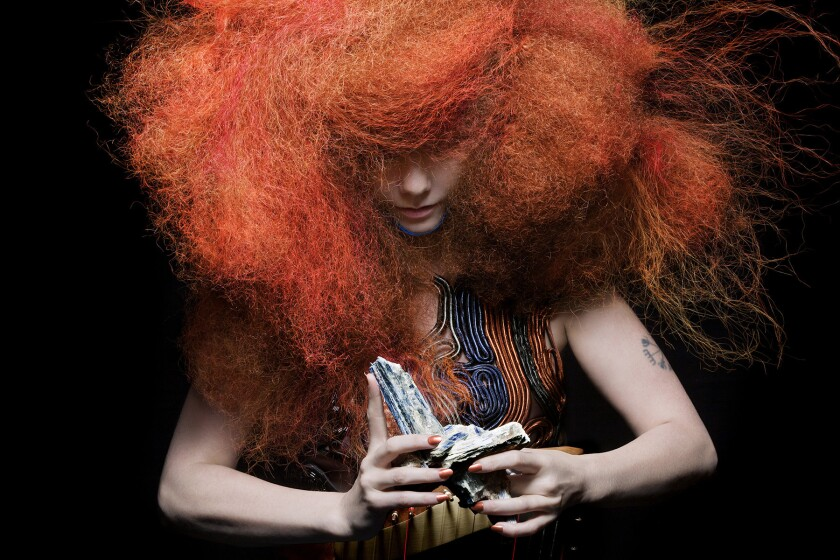 "Björk brought her ""Biophilia"" tour -- part of a multimedia project that also includes an album and an iPad app -- to the Palladium on Sunday for the first of four shows in Los Angeles. She did not allow that performance to be photographed; this is a promotional shot."