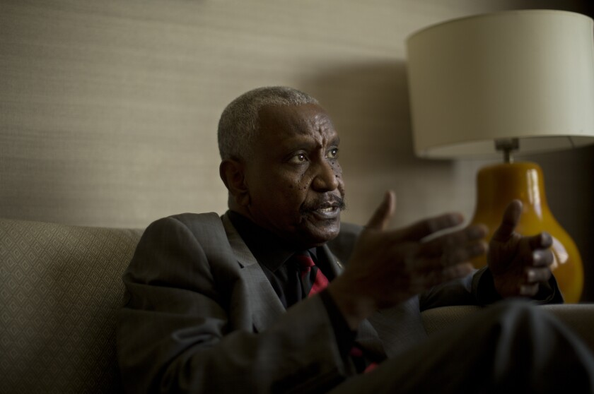 FILE - In this Aug. 14, 2019 file photo, Yesir Arman, leader of the Sudan Revolutionary Front, an alliance of rebel groups, gives an interview, in Cairo, Egypt. Sudan's new, transitional authorities have six months to make peace with the country's rebels under a power-sharing deal reached this summer between the military and the pro-democracy movement following the ouster of longtime autocrat Omar al-Bashir in April. Talks with rebels are to officially start Monday, Oct. 14, 2019, in Juba, the capital of South Sudan. Arman has called for a role in the transitional government, and wants its fighters to be included in the country's military, something the Sudanese generals are unlikely to accept. (AP Photo/Maya Alleruzzo, File)