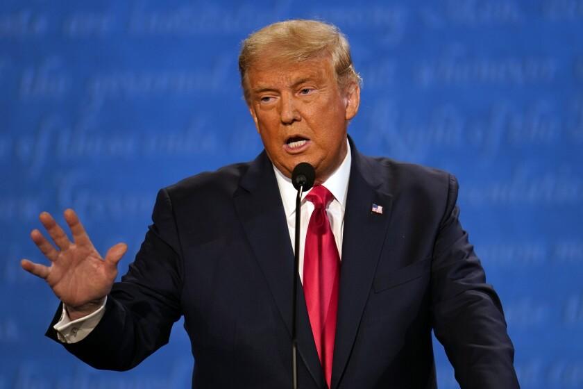 President Donald Trump speaks during the second presidential debate Thursday in Nashville.