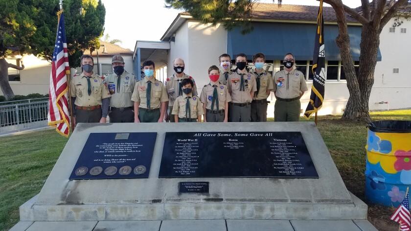 Solana Beach Boy Scout Troop 782 members at the Memorial.