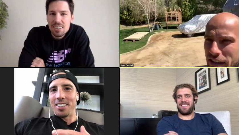NHL players, clockwise from top left, Logan Couture, Ryan Getzlaf, Anze Kopitar and Marc-Andre Fleury stay in touch via video chat during the coronavirus outbreak.