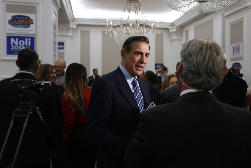 Darrell Issa, who is running for the 50th Congressional District, spoke with reporters at the U.S. Grant Hotel on March 3.