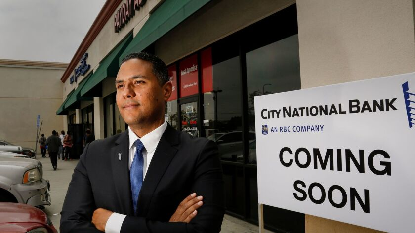 Peter Jackson will manage a new City National Bank branch set to open in L.A.'s Crenshaw neighborhood later this year. The branch marks a departure for the bank, which generally locates branches in more affluent areas.