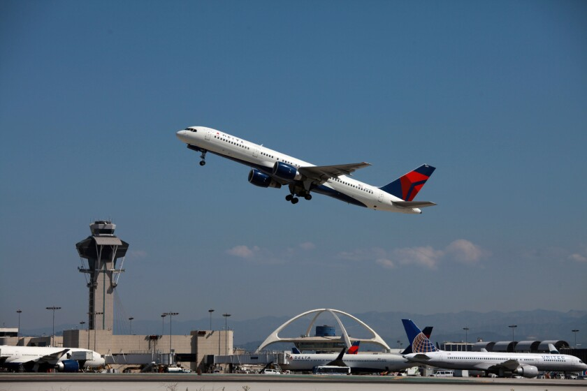 A Delta jet taking off from LAX.