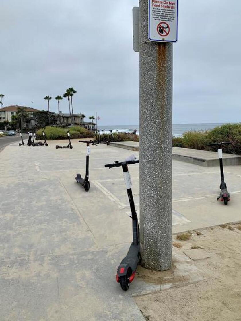 """""""Please help with stopping the further destruction of the beauty of our town with electric scooters everywhere,"""" La Jolla resident Ted Bleckman said."""