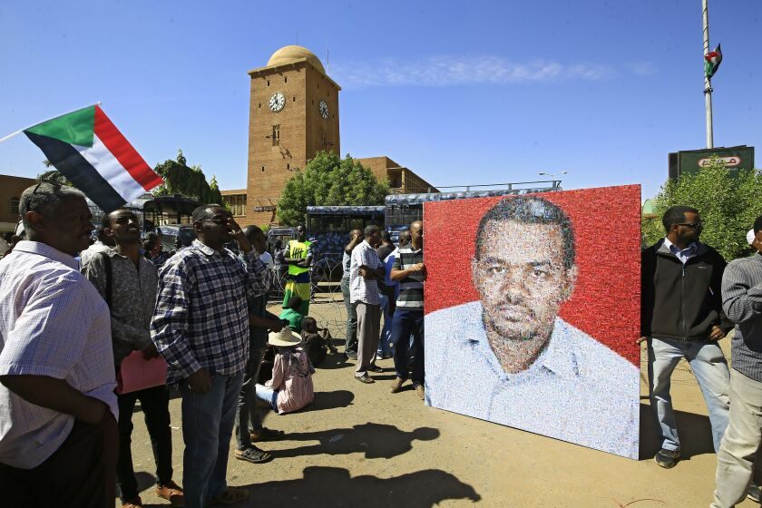 People gather in Khartoum, Sudan, on Nov. 19 to celebrate the first anniversary of mass protests that led to the ouster of former President Omar al-Bashir.