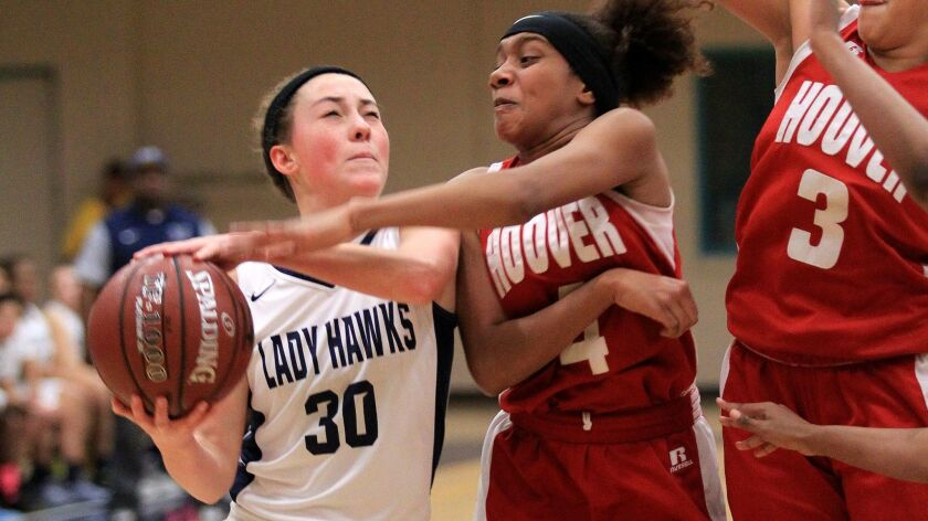 Madison's Megan Irwin (30) had 15 points in the Warhawks' win over Hoover for the Division V title on Thursday.
