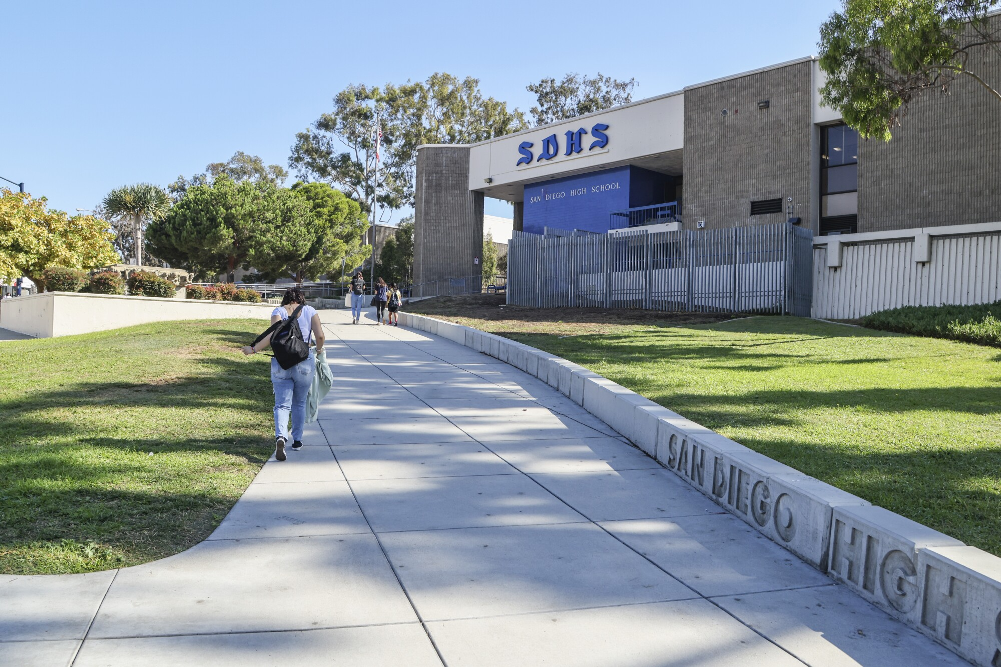The entrance to San Diego High School in Balboa Park.