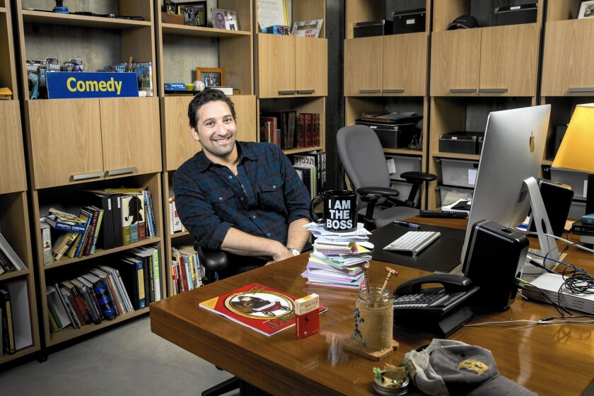 Comedy writer Etan Cohen is in his Los Angeles home office.