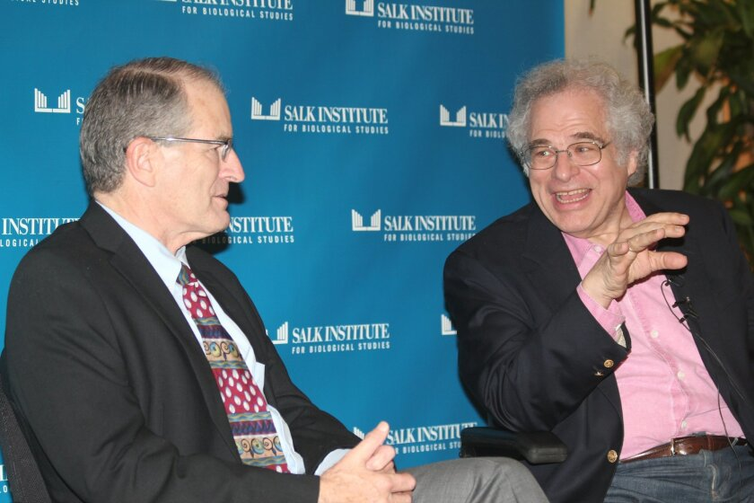 Itzhak Perlman chats with William Brody, president of the Salk Institute for Biological Studies in La Jolla.