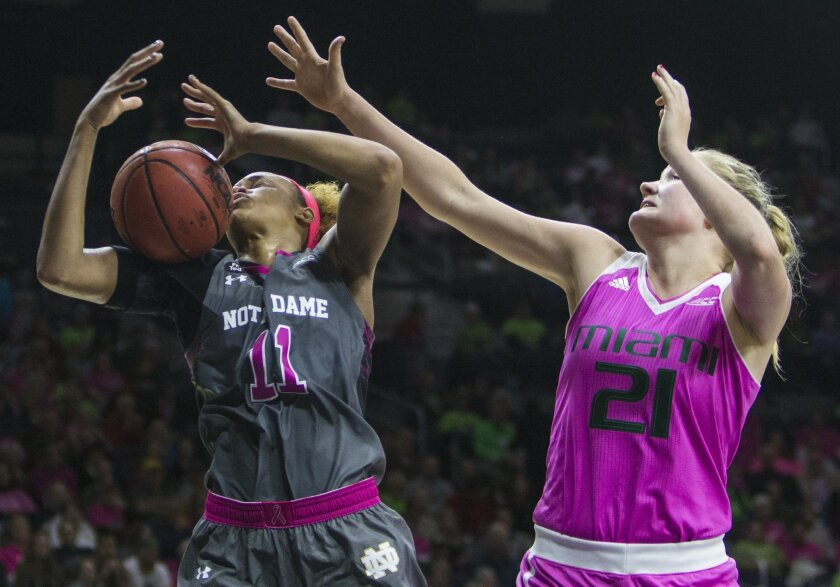 Notre Dame's Brianna Turner (11) grabs a rebound next to Miami's Emese Hof (21) during the second half of an NCAA college basketball game Sunday, Feb. 14, 2016, in South Bend, Ind. (AP Photo/Robert Franklin)