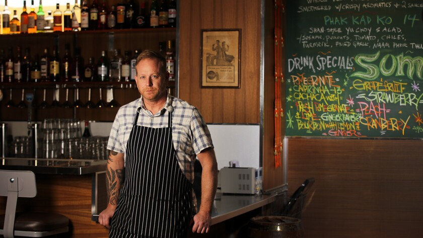 Chef and restaurateur Andy Ricker is shown on the second floor of his Chinatown restaurant, Pok Pok. Tonight will be the restaurant's last night of service.