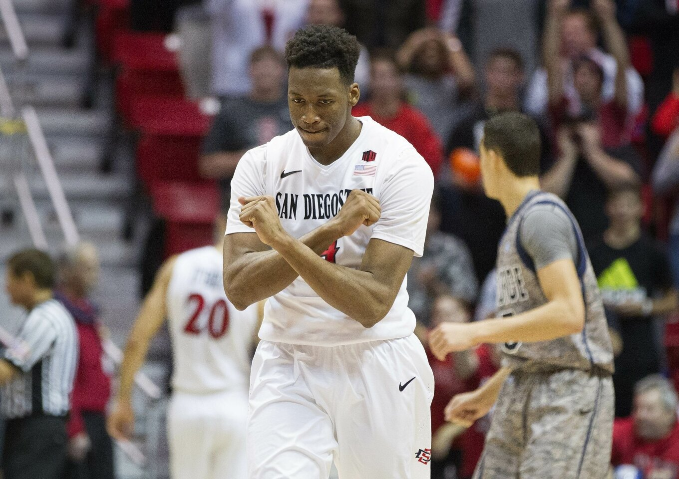 San Diego State guard Dakarai Allen reacts to the 53-49 win over Air Force.