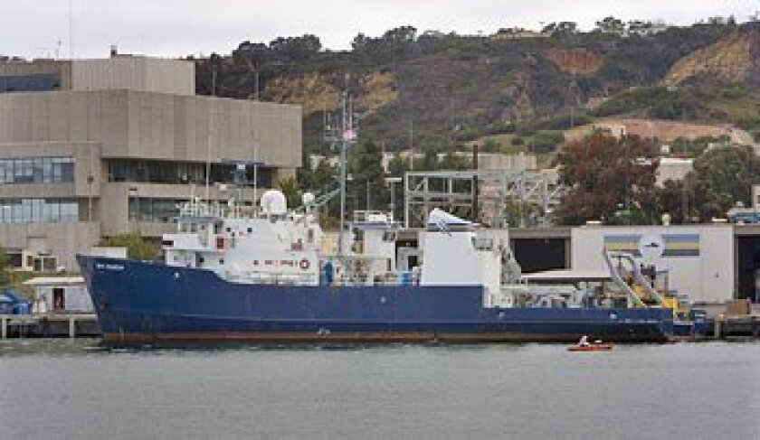 Scripps research vessel New Horizon (shown docked at Point Loma) will spend 25 days at sea conducting a wide range of experiments on the debris'ocean impact.   (Nelvin C. Cepeda / U-T)