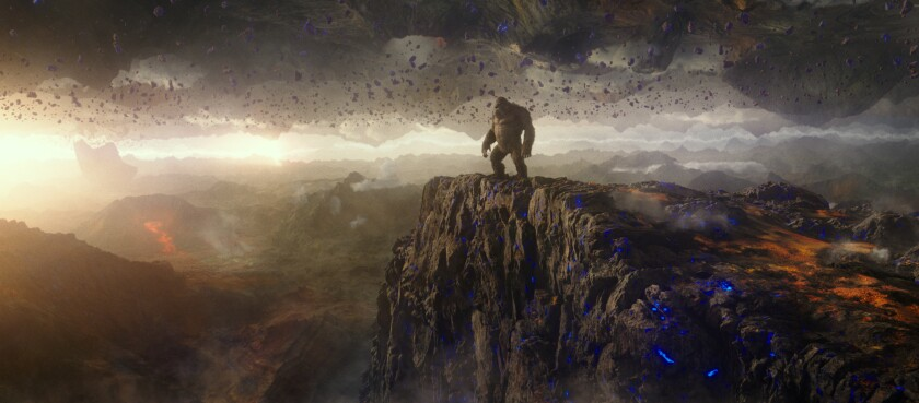 "Kong stands on a mountaintop in ""Godzilla vs. Kong"""