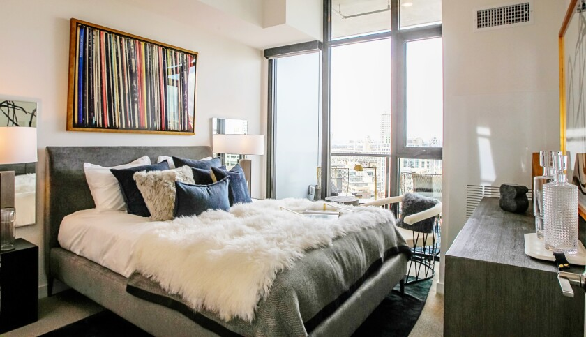 This is a one bedroom apartment at the Alexan ALX luxury apartments at 14th and K Streets in Downtown San Diego, California.