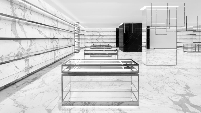 The recently relocated Saint Laurent boutique in Costa Mesa roughly doubles the French luxury brand's footprint at South Coast Plaza.
