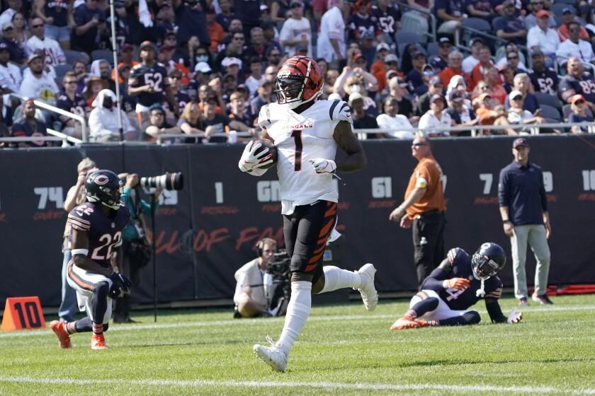 El receptor Ja'Marr Chase de los Bengals de Cincinnati ante los Bears de Chicago, el domingo 19 de septiembre de 2021. (AP Foto/David Banks)