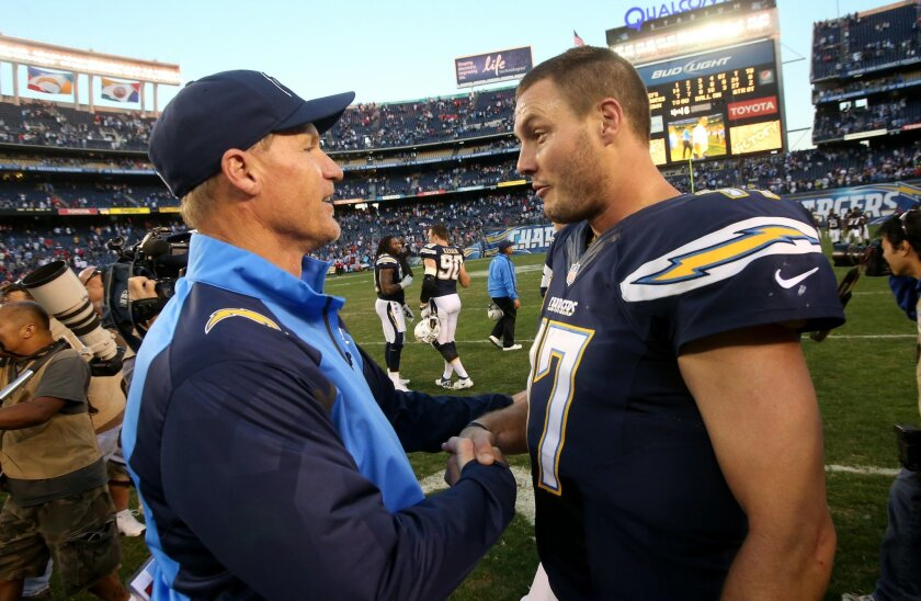 Quarterback Philip Rivers #17 and offensive coordinator Ken Whisenhunt of the San Diego Chargers celebrate after the game with the Kansas City Chiefs.