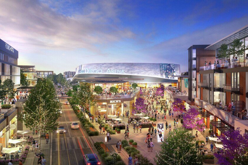 An artists rendering shows Brookfield Properties plans for redevelopment of the Sports Arena site.