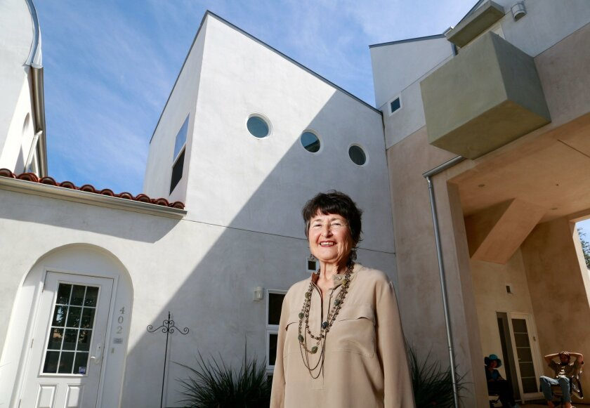 Fern Siegel, founder of Hope Village San Diego, outside the nonprofit's Chesed Home in Escondido, a state-licensed board-and-care home for mentally ill Jewish people.