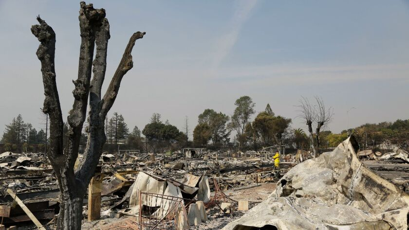 A Cal Fire official looks out at the remains of the Journey's End mobile home park Wednesday, Oct. 1