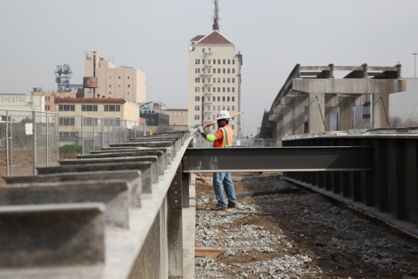 Construction on the California high-speed rail project in Fresno in February 2016.