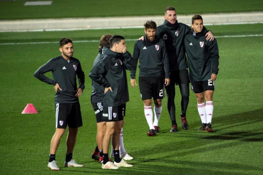 Los jugadores de River Plate, ayer durante un entrenamiento en Valdebebas, Madrid. EFE