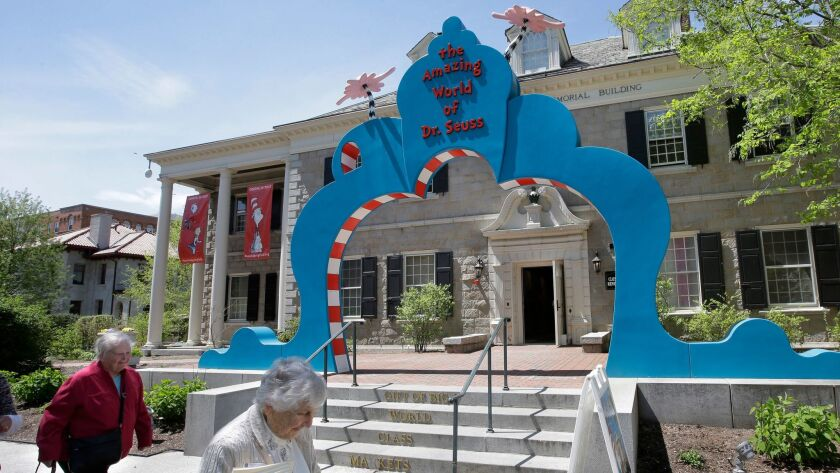 An entrance to the Amazing World of Dr. Seuss Museum in Springfield, Mass.