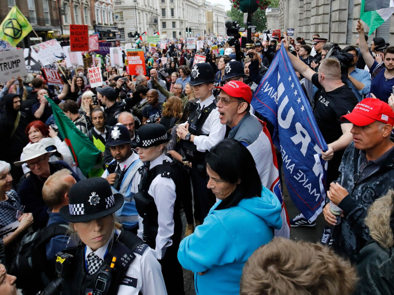 Protesters take to the street in London over Trump visit