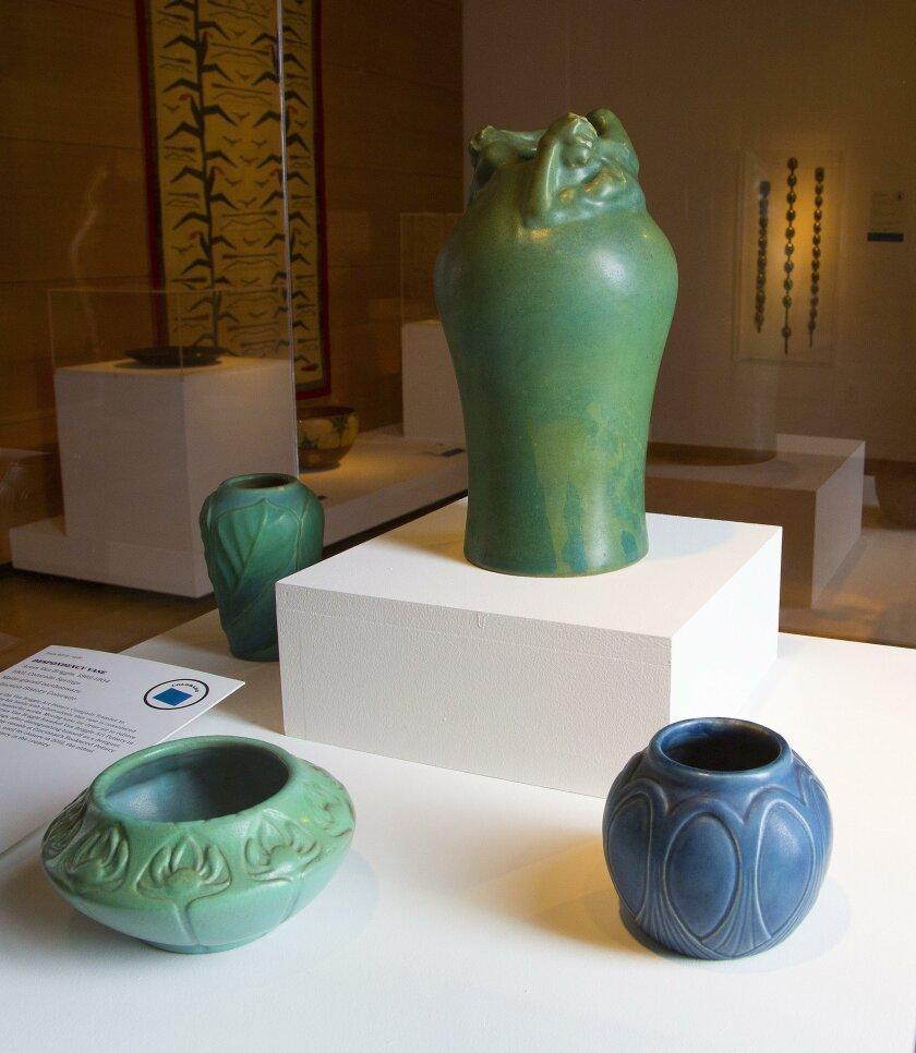 """This """"Despondency Vase,"""" made by Artus Van Briggle, is on display at """"Made in America."""""""