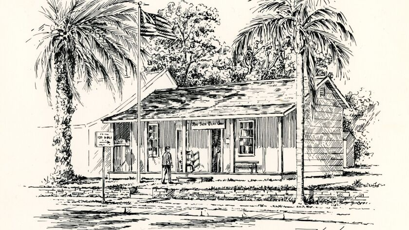 Drawing of Casa de Altamirano, the 1868 home of the San Diego Union by Tribune artist Eric Poulson.