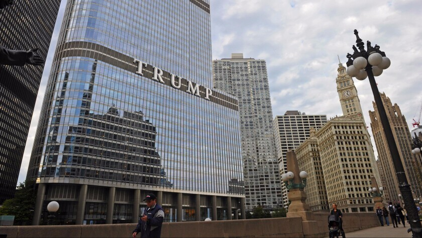 A man walks in front of the Trump Tower in Chicago last week.