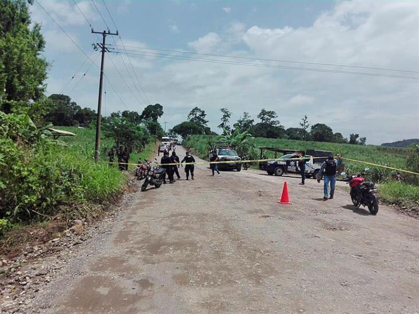 Policías estatales resguardan hoy, miércoles 11 de julio de 2018, la zona donde fue emboscado un grupo de policías en la comunidad de Motzorongo, en el municipio de Tezonapa, Veracruz (México). EFE/STR/MEJOR CALIDAD DISPONIBLE