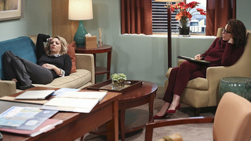 "Kaley Cuoco, left, and Jane Kaczmarek in ""The Big Bang Theory"" on CBS."