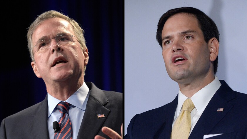 GOP presidential candidates Jeb Bush, left, and Marco Rubio both have had to deal with issues surrounding the Confederate flag during their tenures as public servants in Florida.