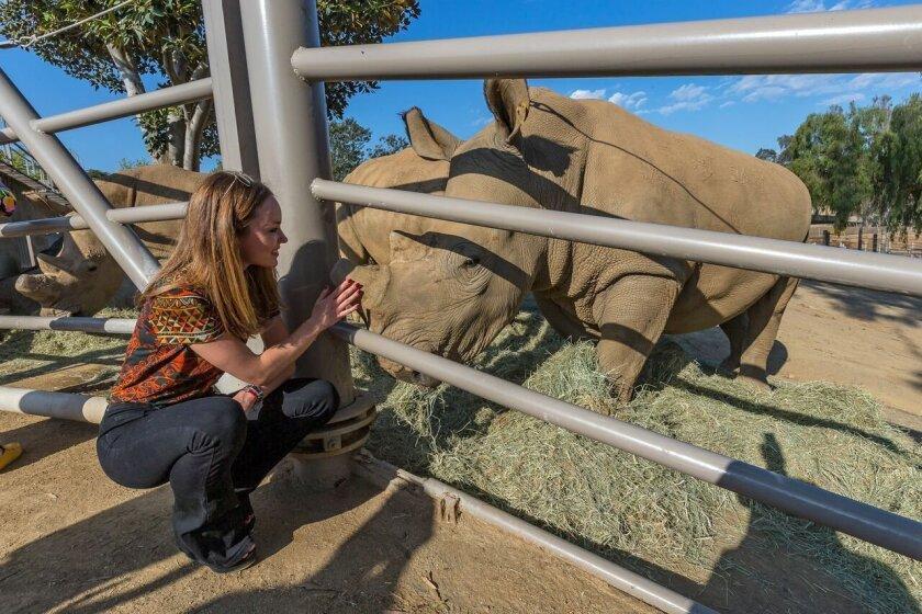 Nikita greets Nikita at San Diego Zoo's Safari Park. Nikita Kahn, who with billionaire boyfriend Larry Ellison gave $1.16 million to the rhino rescue center, greets the southern white rhino that bears her name. The center, which also bears her name, was officially opened May 19.