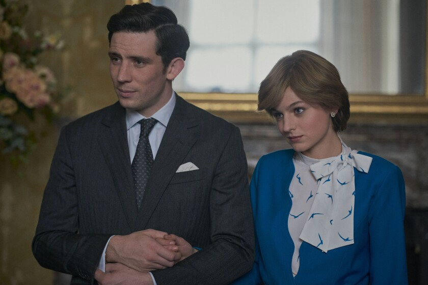 "Josh O'Connor and Emma Corrin in a scene from ""The Crown."""