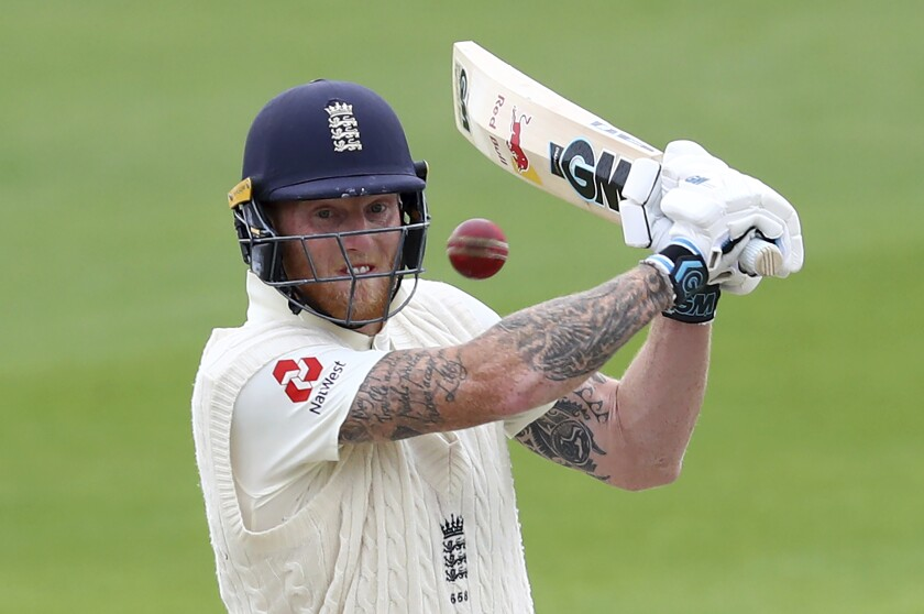 England's Ben Stokes bats during the last day of the second cricket Test match between England and West Indies at Old Trafford in Manchester, England, Monday, July 20, 2020. (Michael Steele/Pool via AP)