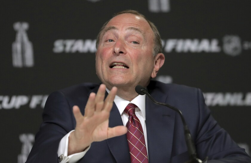 NHL Commissioner Gary Bettman speaks to reporters on May 27, 2019, in Boston.
