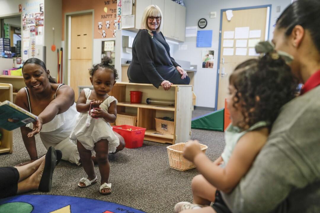 Susie Buffett, daughter Warren Buffett, visits Educare Omaha.