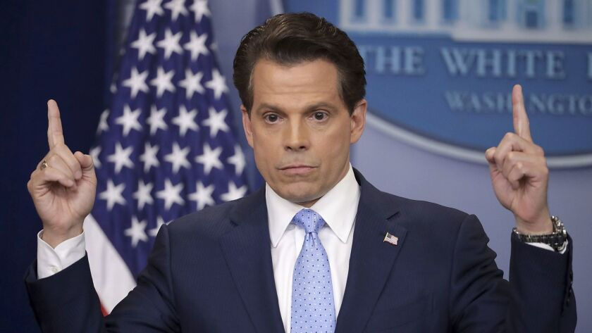 Anthony Scaramucci answers reporters' questions during the daily White House press briefing in the Brady Press Briefing Room at the White House July 21, 2017 in Washington, DC.