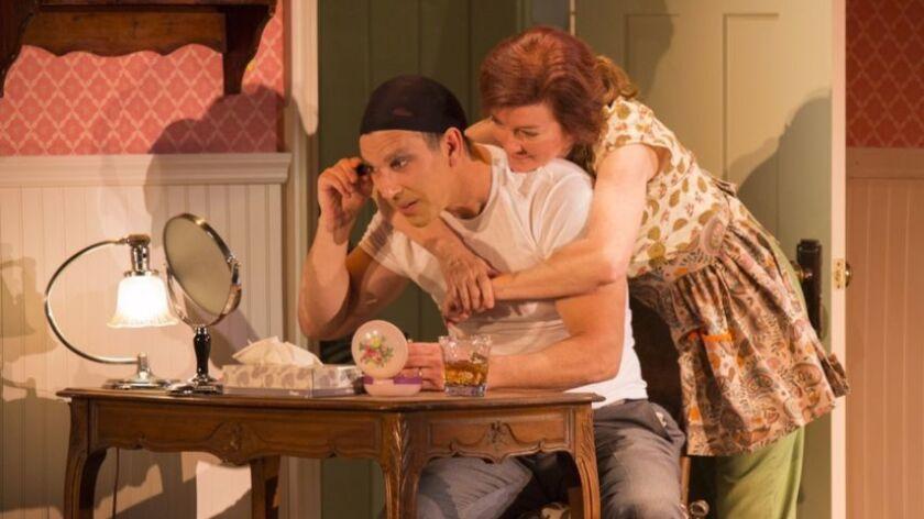 """Robert Mammana and Valerie Mahaffey in """"Casa Valentina"""" at The Pasadena Playhouse."""