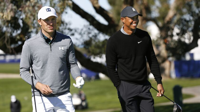 Jordan Spieth and Tiger Woods played a practice round together for the Farmers Insurance Open at Torrey Pines Golf Course on Tuesday.