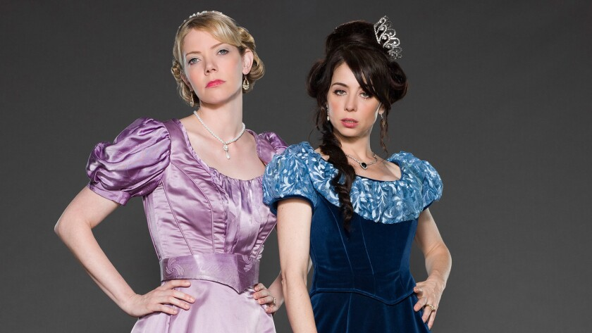 """Riki Lindhome, left, and Natasha Leggero in """"Another Period"""" on Comedy Central."""