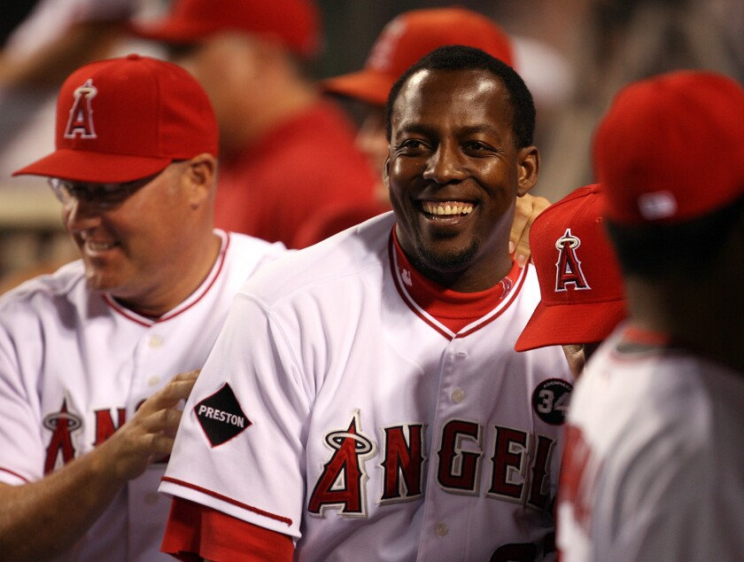 Angels outfielder Vladimir Guerrero celebrates during a game against the Tampa Bay Rays in August 2009.