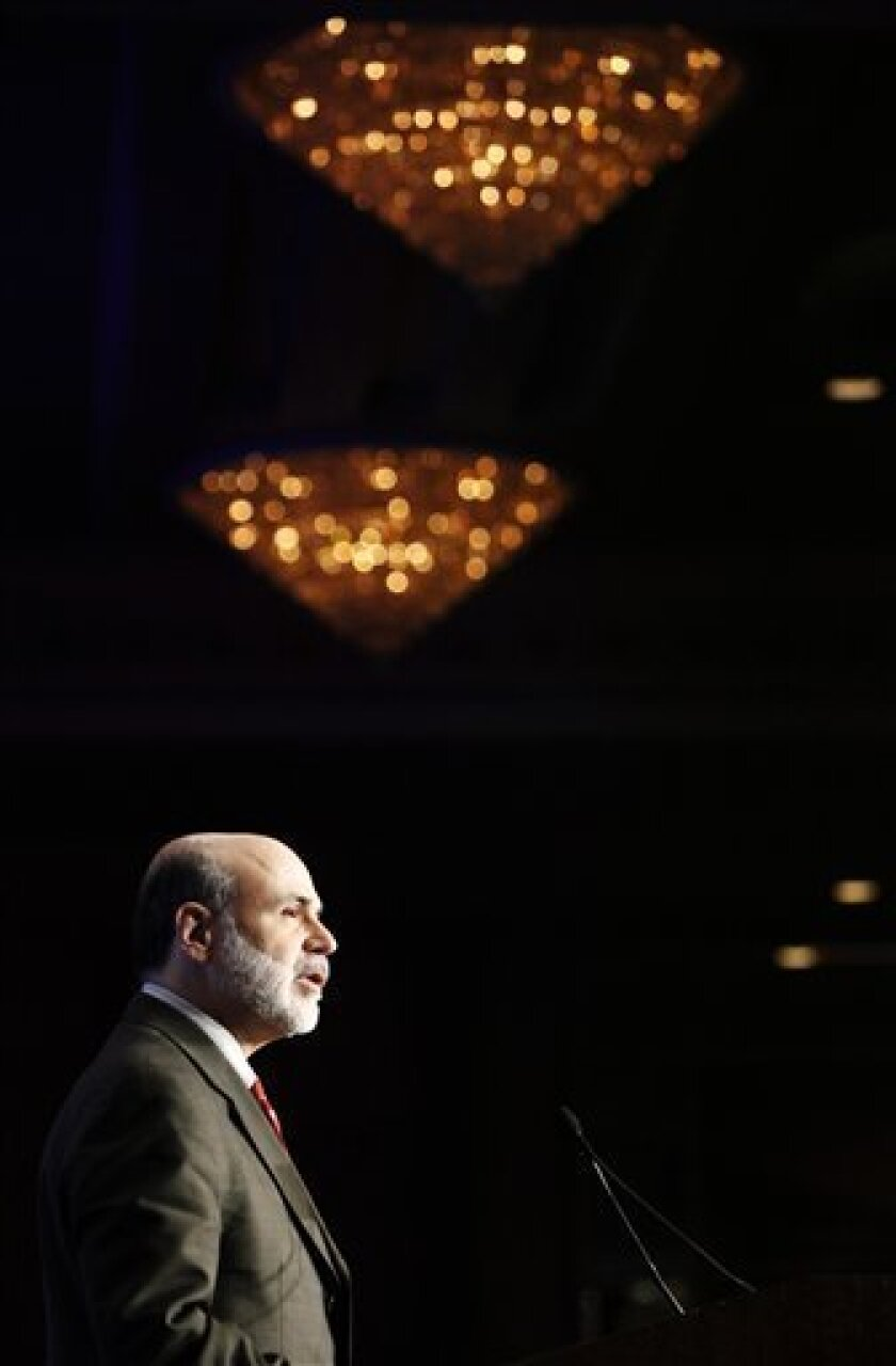 Federal Reserve Chairman Ben Bernanke speaks during a discussion hosted by The Economic Club of Washington, Monday, Dec. 7, 2009, in Washington. (AP Photo/Haraz N. Ghanbari)