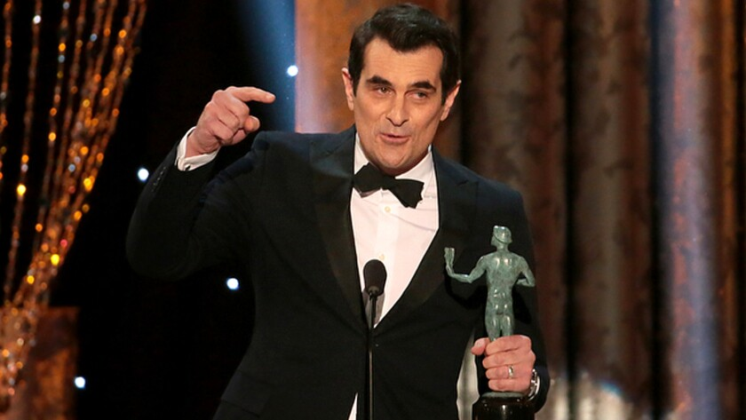 Ty Burrell gives his acceptance speech after winning a SAG award for outstanding male actor in a comedy series.