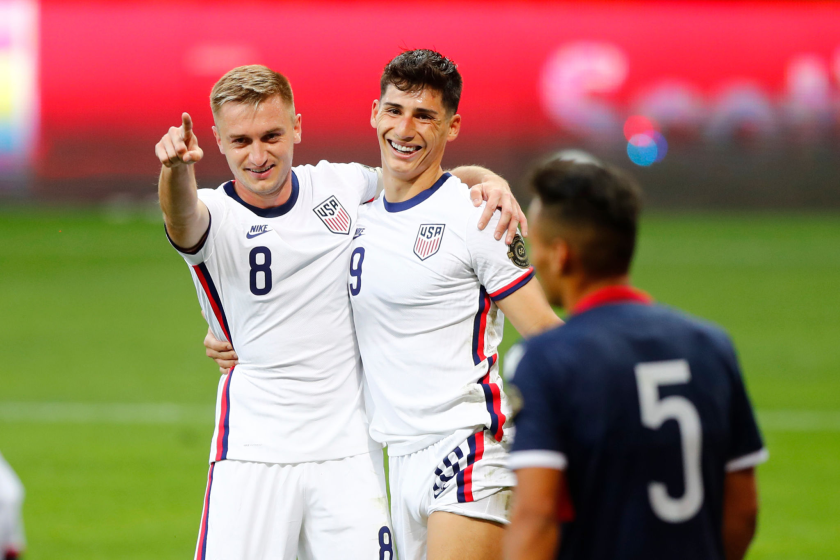 U.S. forward Djordje Mihailovic celebrates with teammate Sebastian Soto after scoring against the Dominican Republic.